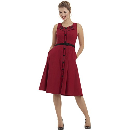 Voodoo-Vixen-Marjorie-Floral-Embrodery-Flare-Dress-Red