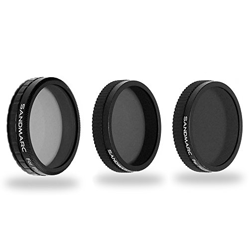 SANDMARC Aerial Filter: ND4, ND8 and Polarizer Filter Set for DJI Phantom 4, Phantom 3 Professional and Advanced - 3 Pack
