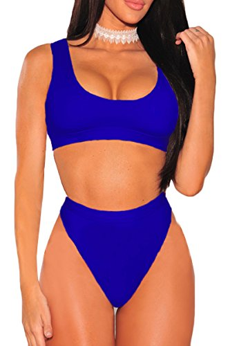 2PCS Swimsuit for Women Workout Exerise Crop Top High Rise Cheeky Two Piece Summer Beachwear Sapphire Blue S ()