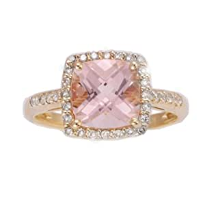 10k Yellow Gold Morganite and Diamond Square Halo Ring, Size 7