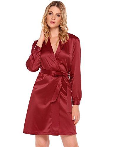 - OD'lover Women's V Neck Long Sleeve Shawl Lapel Satin Self-Tie Belt Wrap Short Kimono Robe Dress