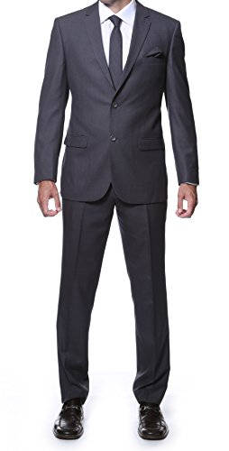 44S Zonettie Mens Hunter Charcoal Tone on Tone Plaid 2pc (Mens Church Suits)