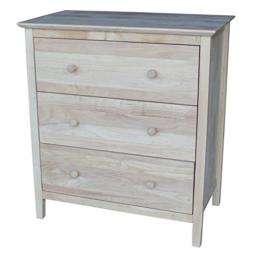 International Concepts Chest with 3 Drawers, Unfinished (Drawer 3 Chest Painted)