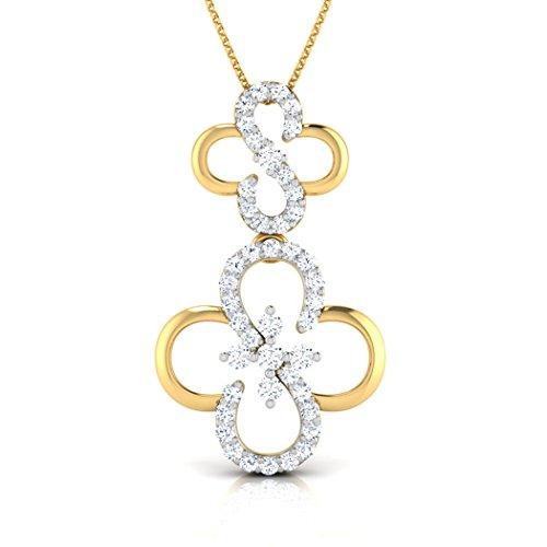 14K Or blanc 0,33CT TW Round-cut-diamond (IJ | SI) Pendentif