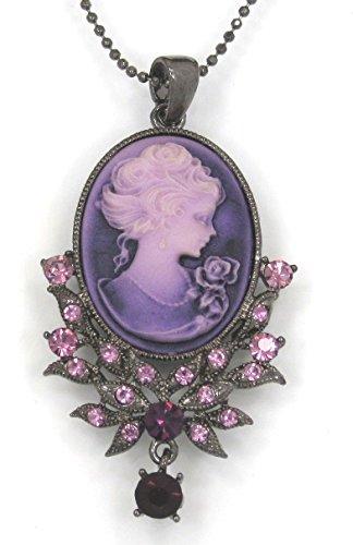 Sparkleshop Elegant Victorian Lady Style Cameo Pendant Necklace Lavender Purple