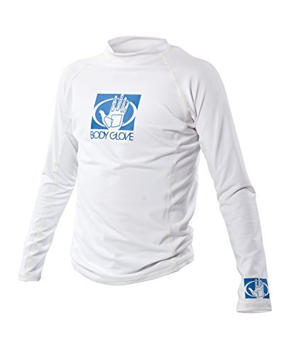 Body Glove Wetsuit Junior Basic Fitted Long Arm Rash Guard, White, - Arms Wetsuit