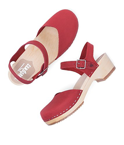 Sandgrens Swedish Wooden Low Heel Clog Sandals for Women | Saragasso Red fake cheap online for cheap sale online how much cheap price buy cheap footaction spv1H4Cf