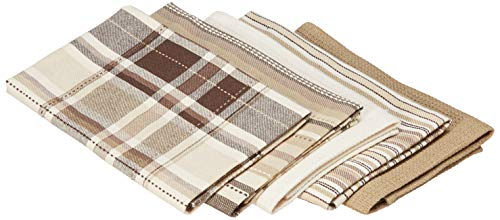 DII Oversized Kitchen Towels (Taupe, 18x28), Ultra Absorbent & Fast Drying, Professional Grade Cotton Tea Towels for Everyday Cooking and Baking - Assorted Patterns, Set of 5
