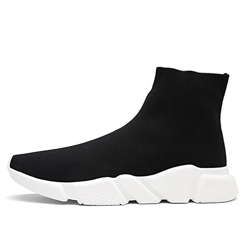 QiTeng Unisex Slip-On Athletic Black Socks Shoes Lightweight Breathable Outdoor Casual Sports Running Sneakers (Men US8.5)