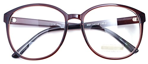 Oversized Big Round Horn Rimmed Eye Glasses Clear Lens Oval Frame Non Prescription (Brown - Big Nerd Prescription Glasses