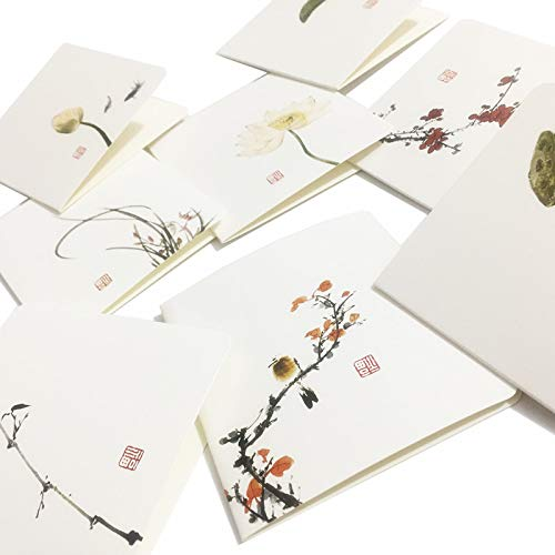 (Featuring Hand Drawn Thank You blank greeting card,8pcs blank note cards with envelopes,Chinese Style Flowers And Birds Series valentine cards-Any occasion Caroline)