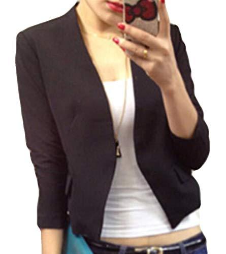 BYWX Women Solid Color Slim Fit Coat Puff Sleeve Blazers Basic Jackets Black US ()