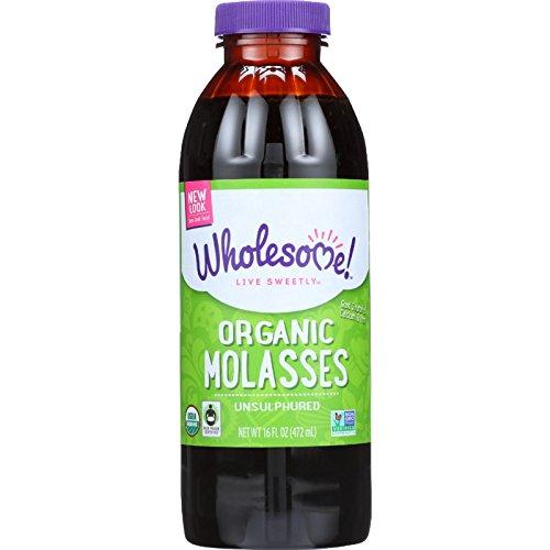Wholesome Sweeteners Molasses - Organic - Blackstrap - Unsulphured - 16 oz - case of 12 - Kosher - Fair Trade - GMO (Kosher Sweetener)