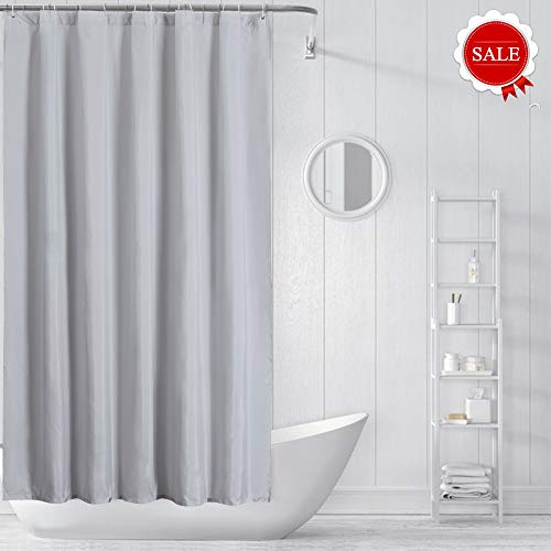 Wei Xu Luxury Shower Curtain Liner Mold Resistant Fabric Hotel Quality Waterproof Spa Bathroom Curtains with Grommets (Greyish, 71