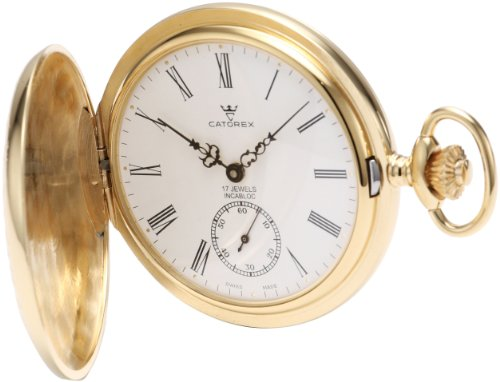 - Catorex Men's 171.6.1634.110 Les Breuleux 18k Gold Plated Brass White Dial Pocket Watch