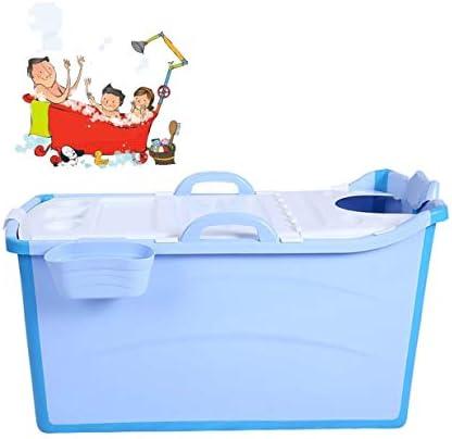 折りたたみバスタブ GYF 大人の折りたたみ浴槽プラスチックベビースイミングプール子供風呂バレル家庭用大型ポータブル浴槽 106x50x53cm折りたたみ式大浴場 (Color : Blue)