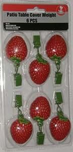Fresa en forma de pesos para mantel (para mesa de jardín, juego de 6