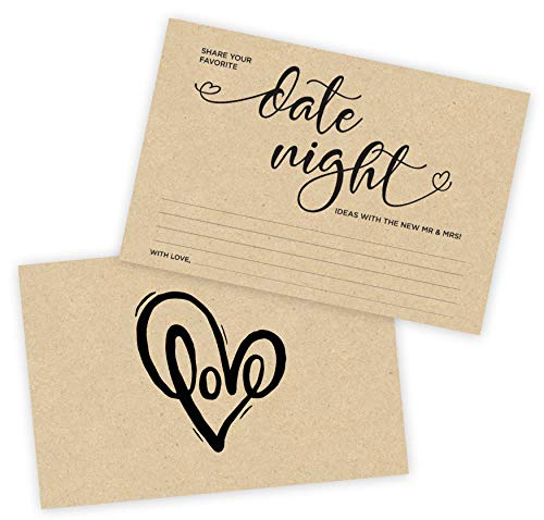 Bridal Showers Ideas (50 Date Night Idea Cards, 4 x 6 Thick Double Sided Design for Bridal Shower, Married Couples, Bride and Groom, Reception Made in the USA (Kraft)