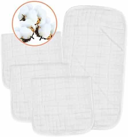 PPOGOO Muslin Burp Cloths 100% Cotton, White, 4 Pack, Large 21