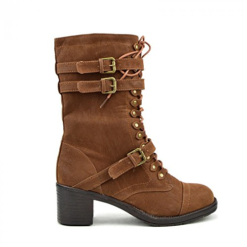 Kick Footwear Womens Retro Combat Lace Up Ankle Boot Tan