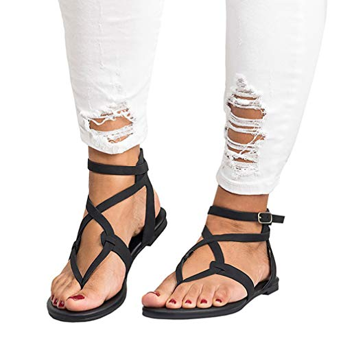 (Women Strappy Gladiators Sandals Thong Criss Cross Wrap Ankle Strap Flats Open Toe Beach Shoes for Summer Plus Size Black)