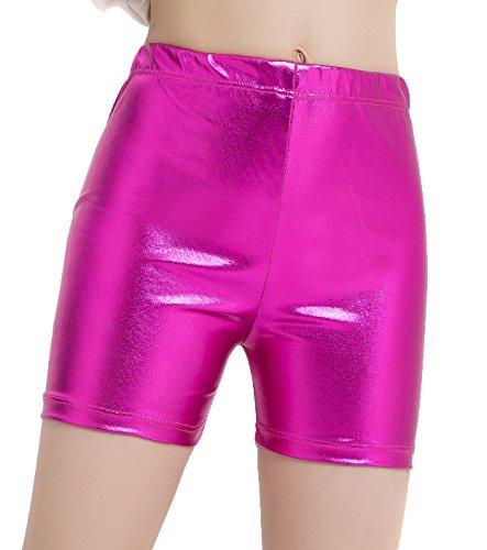 df4f4d13272a speerise Girls Shiny Metallic High Waisted Gymnastics Dance Booty Shorts,  Red, XS
