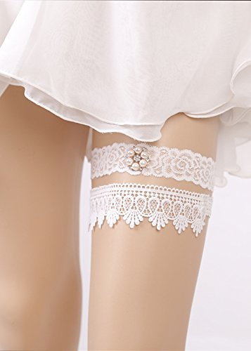 Kercisbeauty Set of 2 Handmade Bridal Bridesmaids Elastic Adjustable White Lace Pearl and Rhinestones Rose Garter Hen night bachelorette party ()