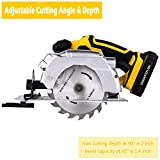 Compact Cordless Lithium-Ion Circular Saw with Laser Guide, 18-Tooth Carbide Wood Cutting Blade - Max Cutting Depth 2'' (90°), 1-2/5'' (0°-45°), Portable Handheld Design 7000 rpm Max Speed (US STOCK)