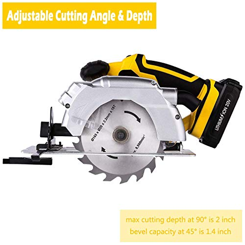 Stock Handheld (Compact Cordless Lithium-Ion Circular Saw with Laser Guide, 18-Tooth Carbide Wood Cutting Blade - Max Cutting Depth 2'' (90°), 1-2/5'' (0°-45°), Portable Handheld Design 7000 rpm Max Speed (US STOCK))