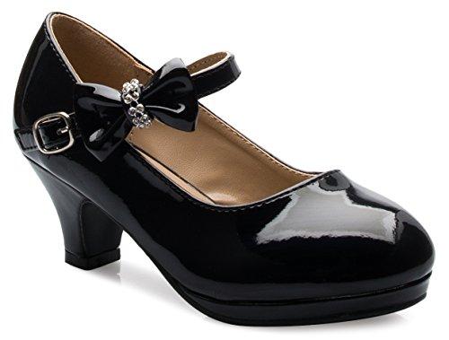 OLIVIA K Girls Bow Mary Jane Kitten Heel Pumps (Toddler/Little Girl)