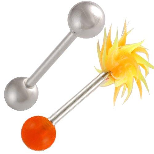 (bodyjewellery 14g 14 Gauge 1.6mm 5/8 Tongue Bars Nipple Barbell Ear Rings 6mm Steel Koosh Ball Orange Acrylic AVOI 2Pcs)