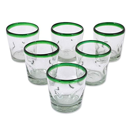 - NOVICA Artisan Crafted Clear Green Rim Hand Blown Recycled Glass Tumbler Glasses, 9 oz. 'Lime Freeze' (set of 6)