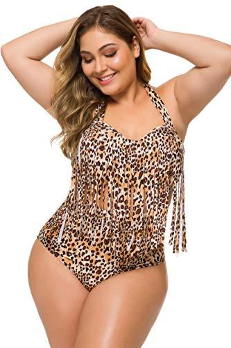 3c1dabe227d Spring Fever Plus Size Retro High Waist Braided Fringe Top Bikini Swimwear  for Women (Leopard, XL(US 10-12))
