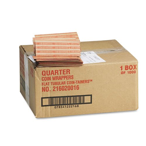 (MMF Industries Products - MMF Industries - Pop-Open Flat Paper Coin Wrappers, Quarters, $10, 1000 Wrappers/Box - Sold As 1 Box - Color-coded. -