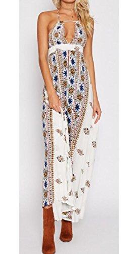Womens Boho Jaycargogo Halter White Backless Dress Printed Summer Beach Maxi dqttap
