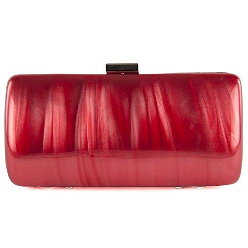 Borsa clutch, Sara rossa, in rodoide