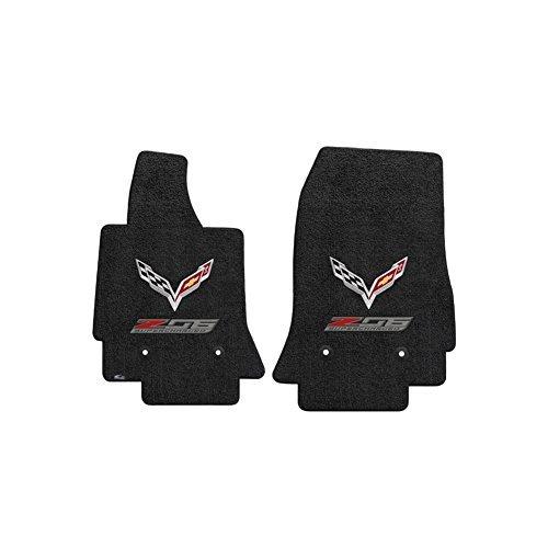 (Fits C7 Corvette Z06 Floor Mats- Flags w/ Z06 Supercharged Logo: Black )