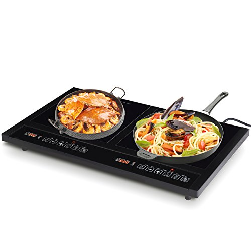 Cheap Costway 1800W Double Induction Cooktop Portable Electric Dual Hot Plate Countertop Burner w/Digital Display
