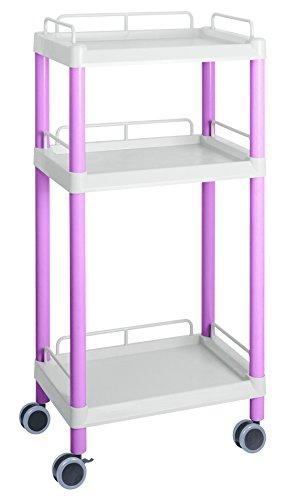 アズワン モバイルイージーカート(トールタイプ/レギュラー31)ピンク 3段 ガード枠あり /3-6642-07 B06XXJVXQN