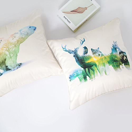 iNuvole Back to Nature Wild Life Animals Decor Collection 18 x 18 inches Decorative Silky Soft Throw Pillow Covers with a Double-sided Print for Couch (Wolf Arctic Rests)