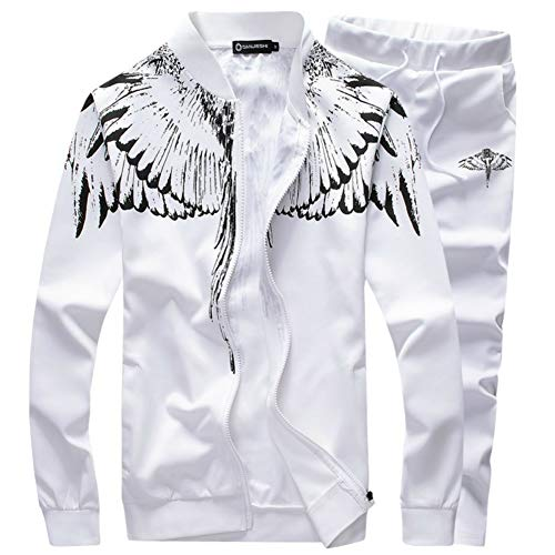 SEA GIANT Men's Autumn Winter Sport Coat Sweatshirt+Pants Sets Sports Suit Tracksuit,White,XXL (Suits And Sportcoats)