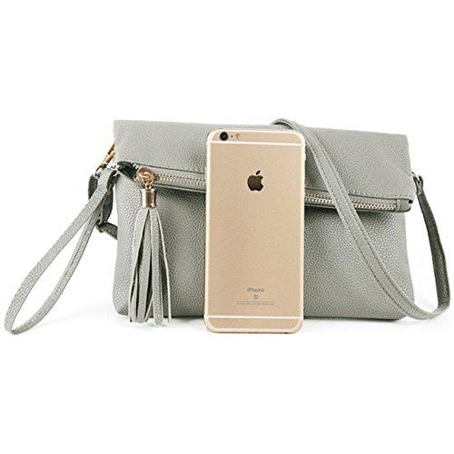 Foldover Gray Wristlet Bag Tassel Evening Mily with Handbag Purse Envelope Clutch Shoulder 4wBnOPd