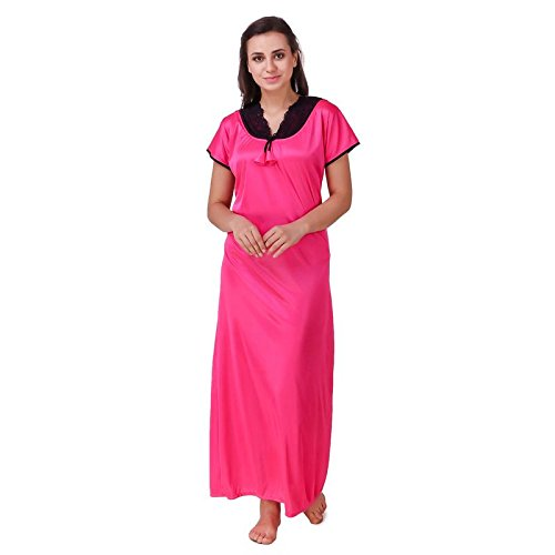804d7f1a43 KEOTI Satin Pink Color Full Nighty Gown Maxi