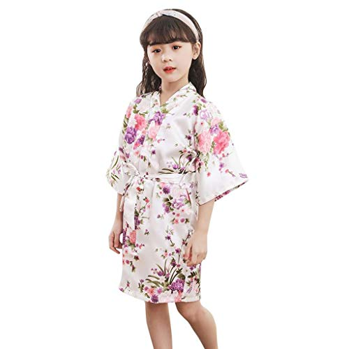 terbklf Toddler Baby Kids Girls Classical Floral Soft Silk Satin Kimono Robes Bathrobe Sleepwear Elegant Slim Nightdress