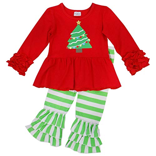 So Sydney Toddler 2 Pc Christmas Ruffle Pant Tunic Top Holiday Girls Boutique Clothing Outfit (XS (2T), Tree Green Stripe)