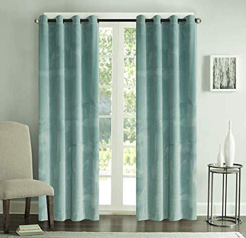 Roslynwood Velvet Home Curtains Solid Grommet Drapes Window Curtain Panel Pair, Aqua Blue, 52x84 Inch (2 Panels) ()
