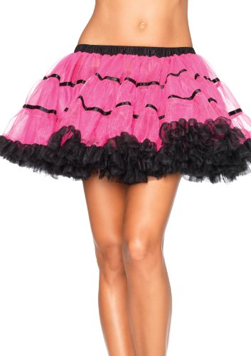 [Leg Avenue Women's Layered Striped Petticoat Dress, Neon Pink/Black, One Size] (1980s Dress)