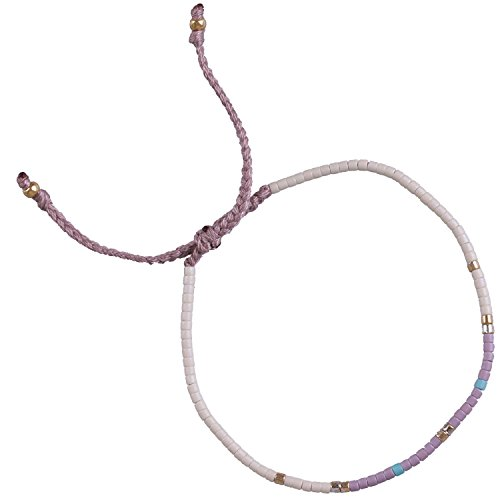 rystal Shell Beaded Bracelets Handmade Friendship New Chain Jewelry (White/purple) (Crystal Beaded Friendship Bracelet)