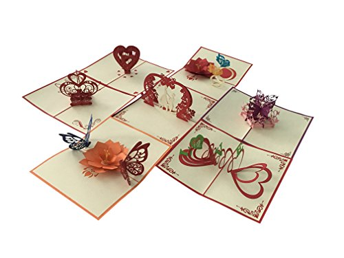 AnniversaryPop Up Cards Set-Pack of 7 Unique Designs- Valentine Cards-Love Cards-Engagement Greeting Cards by Be Fun