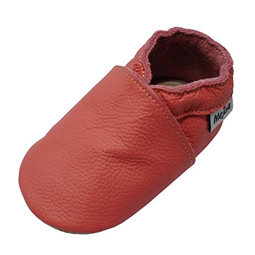 Mejale Baby Soft Soled Leather Moccasins Anti-Slip Infant Toddler Shoes First Walkers(Watermelon Pink,24-36 - Kid Leather Soft